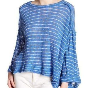 Free people Island Girl Stripe blue Tee.Medium